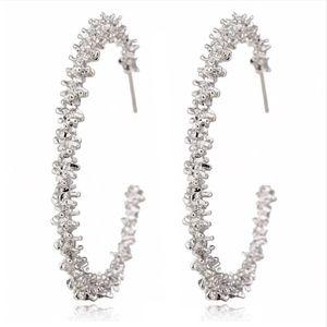 PREVIEW Textured Silver C Hoop Earrings